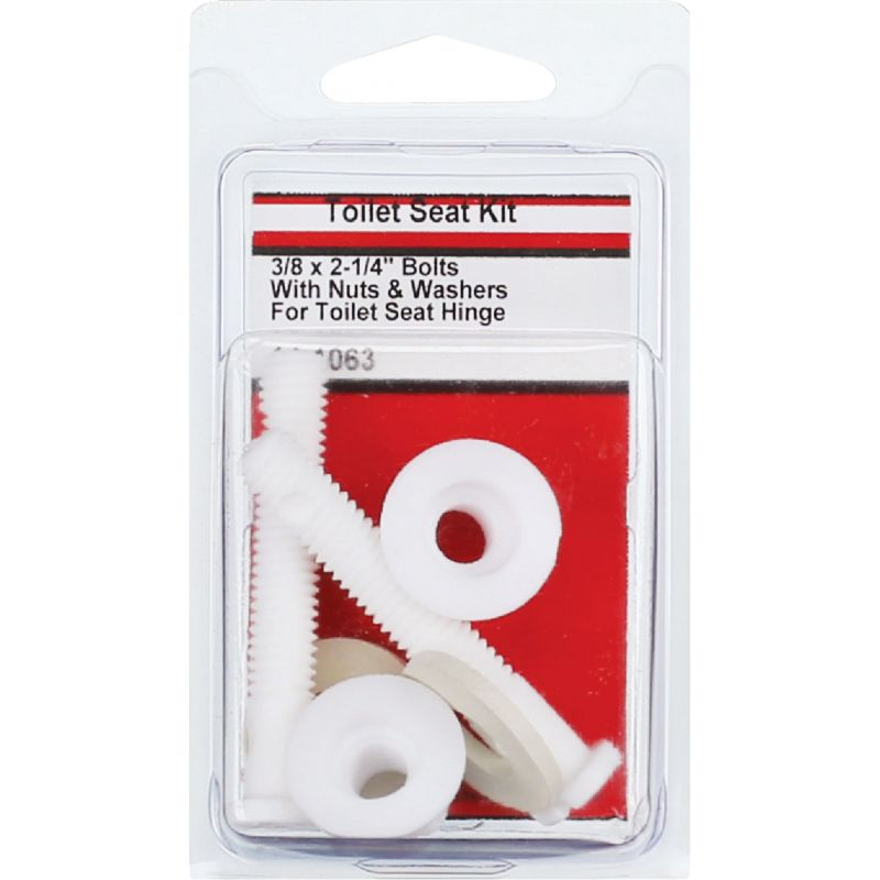 """Lasco Toilet Seat Hinge 3/8"""" Bolts, Nuts, And Washers 3/8"""" X 2-1/4"""", White"""
