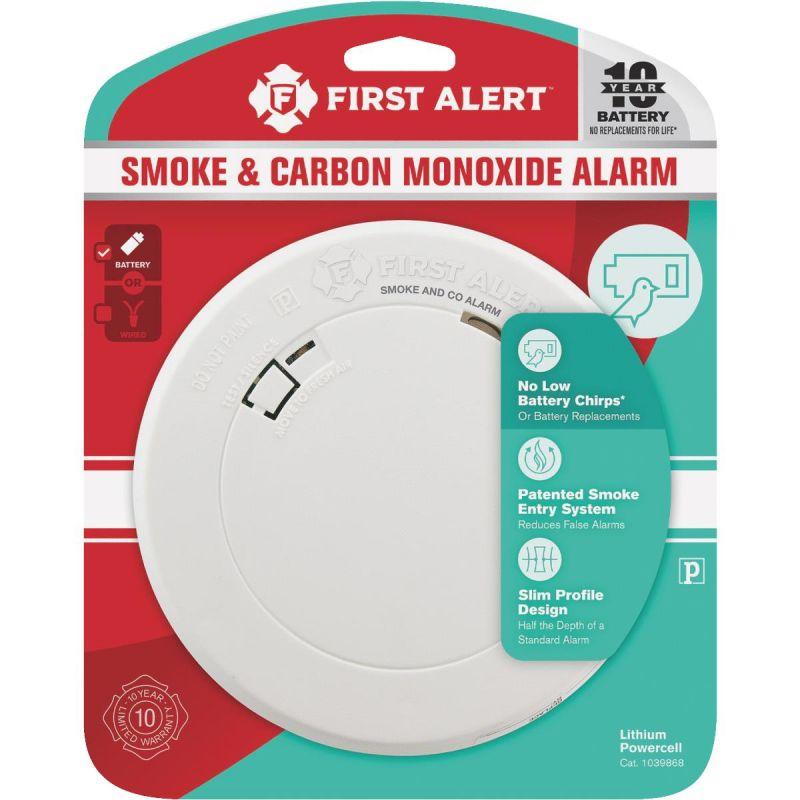 First Alert 10-Year Battery Slim Round Carbon Monoxide/Smoke Alarm White