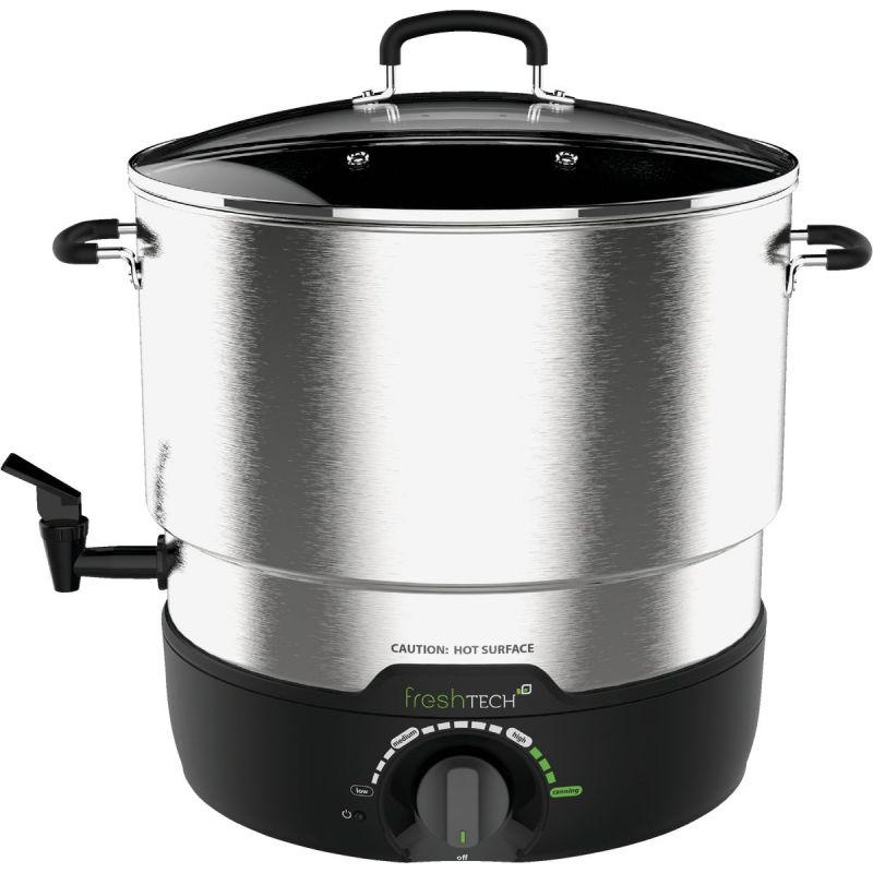 Ball FreshTech Water Bath Cooker/Canner Holds 7 Qt. Jars, 21 Qt., Silver/Black
