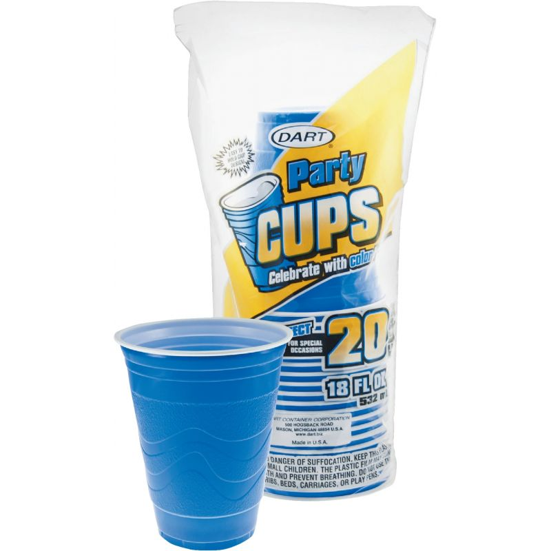 Dart Party Plastic Cup 18 Oz., Blue (Pack of 12)