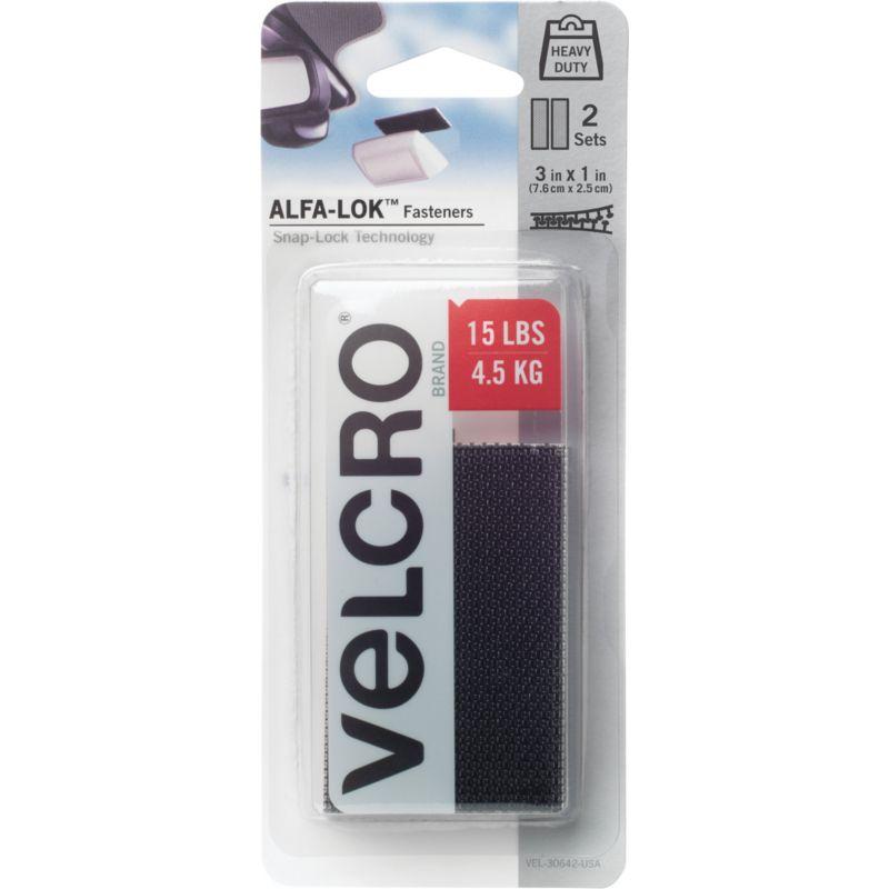 VELCRO Brand Alfa-Lok Hook & Loop Strip Black