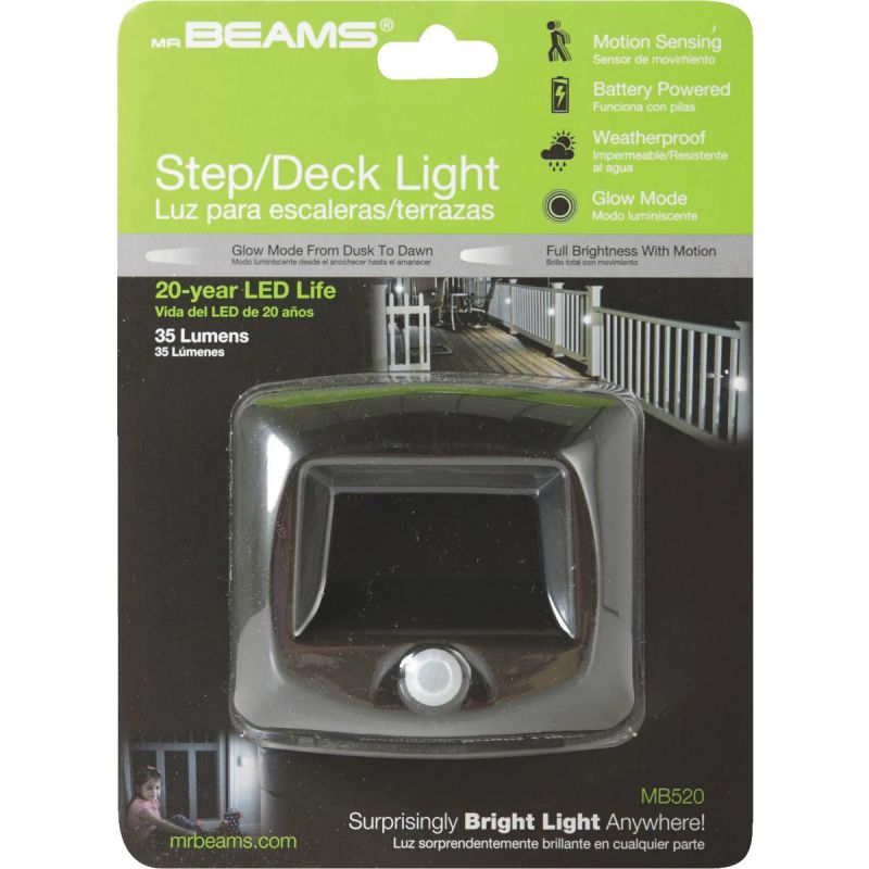 Mr. Beams Outdoor Battery Operated Step LED Light Fixture Brown