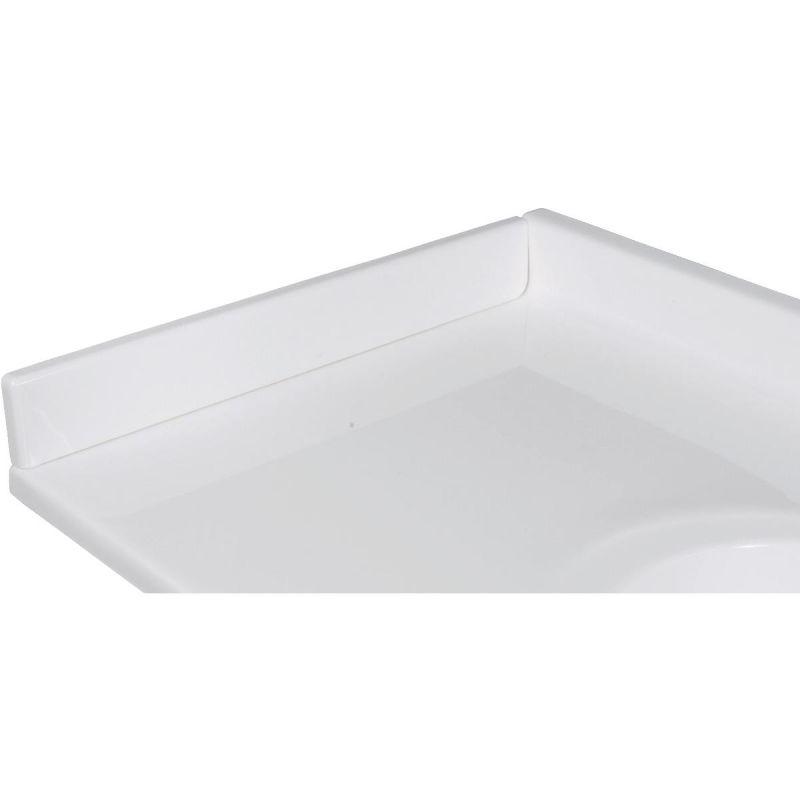 Imperial Marble Side Splash White On White Gloss, Left Side