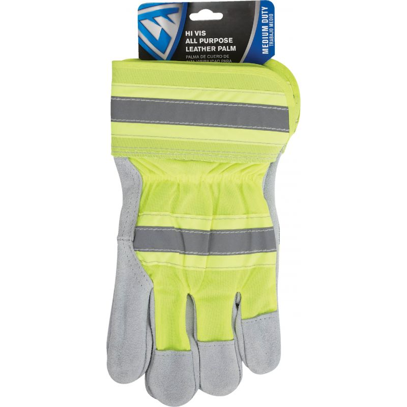 West Chester Protective Gear Leather High Visibility Work Glove XL, Yellow & Gray