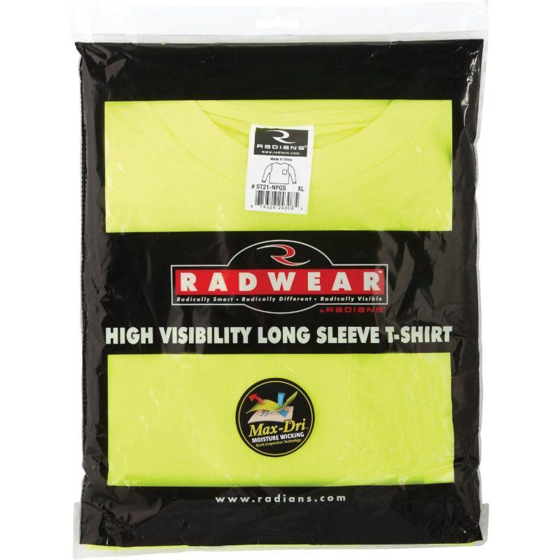 Radians Rad Wear Long Sleeve Safety T-Shirt XL, Hi-Vis Green