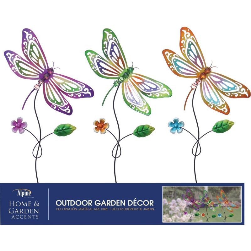 Alpine Dragonfly Garden Stake Lawn Ornament Assorted (Pack of 18)
