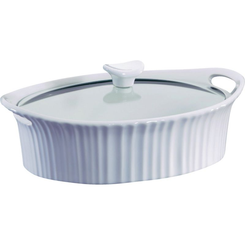 Corningware 2-1/2 Quart Oval Covered Casserole Dish 2-1/2 Qt, French White