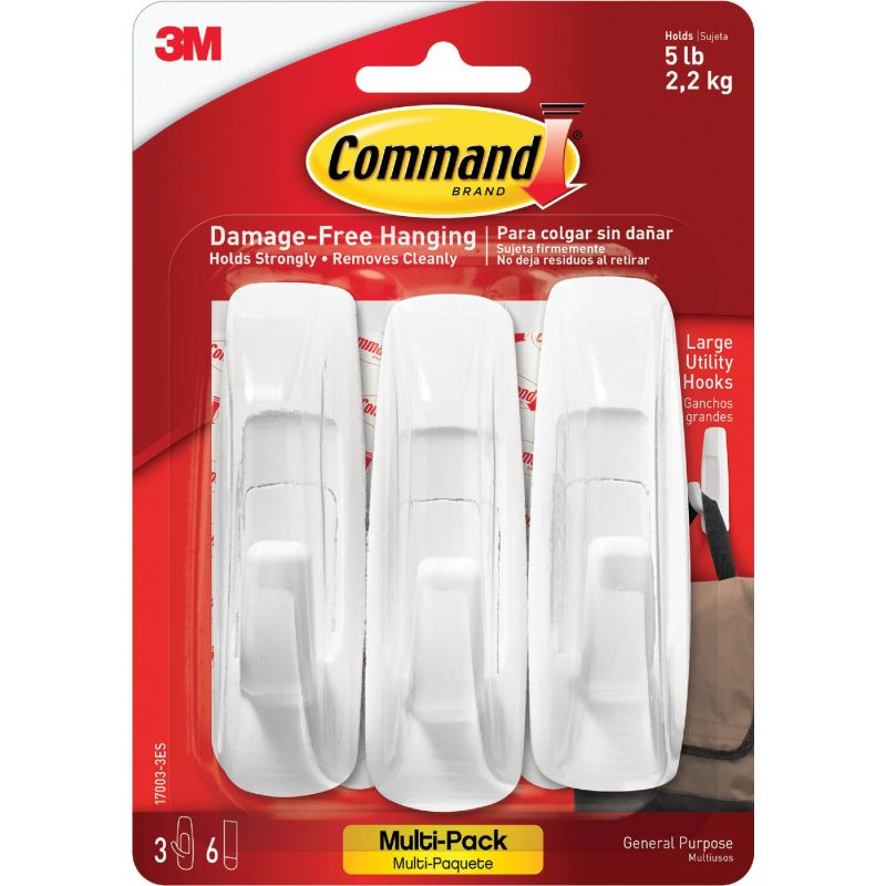 3M Command Utility Adhesive Hook White