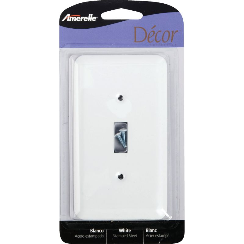 Amerelle Stamped Steel Switch Wall Plate White
