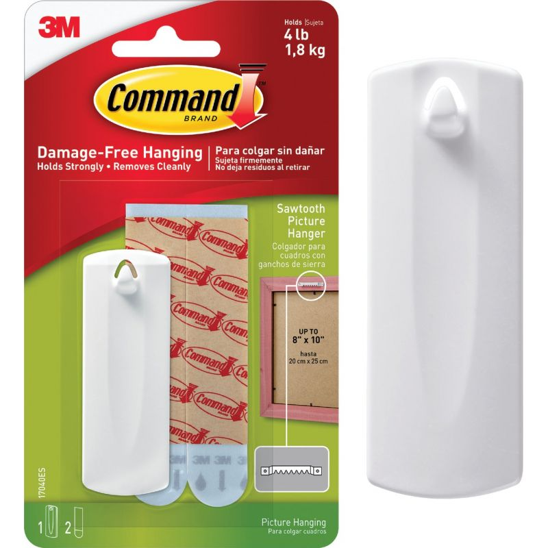 Command Sawtooth Adhesive Picture Hanger White