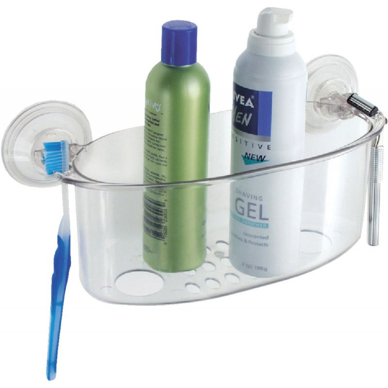InterDesign Power Lock Suction Shower Basket Clear