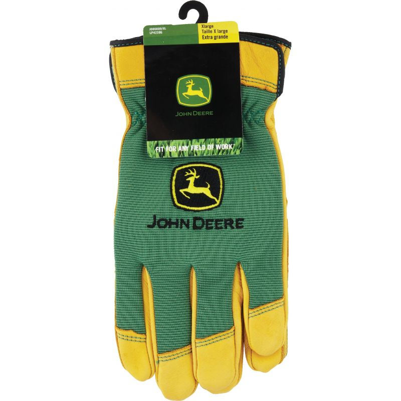 John Deere Deerskin Leather Work Glove XL, Yellow & Green