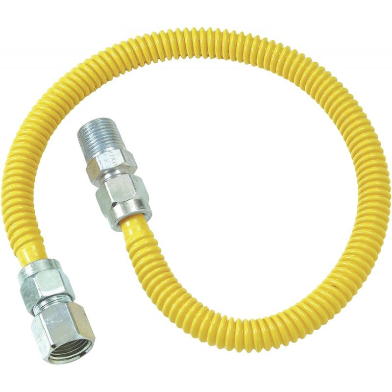 Dormont 1/2 In. OD x 3/8 In. ID Coated SS Gas Connector, 1/2 In. MIP x 1/2 In. FIP