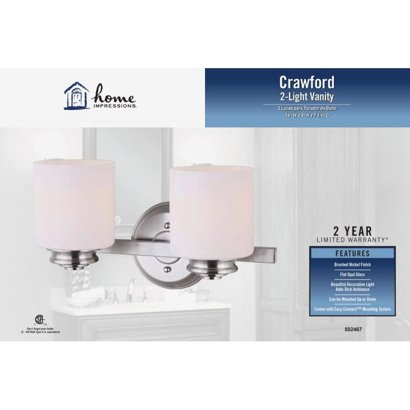 Home Impressions Crawford Bath Light Bar 14 In. W. X 8 In. H. X 7-1/4 In. D.