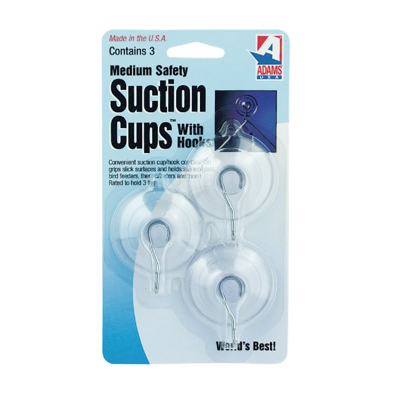 Adams Suction Cup With Metal Hook 1-3/4 In., Clear