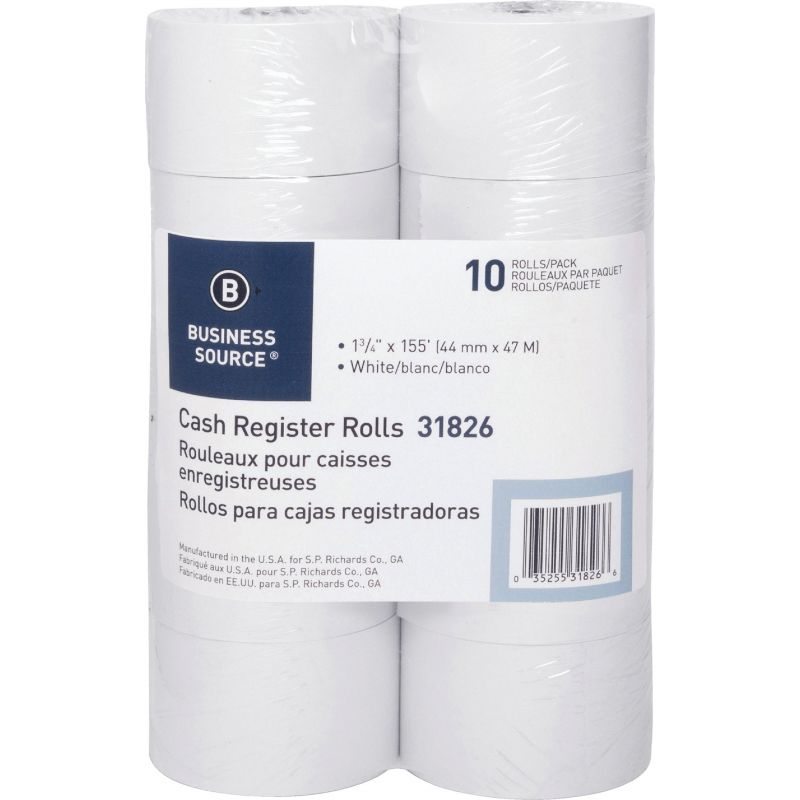 Business Source Roll Paper 1-3/4 In. X 155 Ft., White