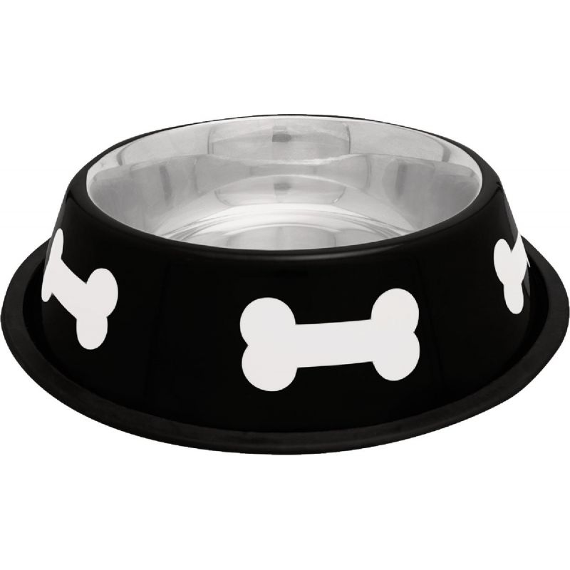 Westminster Pet Ruffin' it Bone Design Pet Food Bowl 32 Oz., Black & White