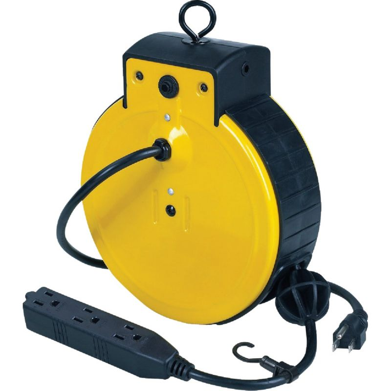 Alert Stamping Triple Tap Retractable Extension Cord Reel Black, 10A