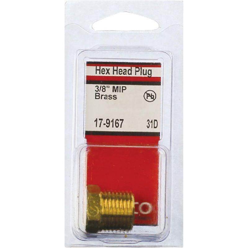 """Lasco Brass Hex Head Plug 3/8"""" MPT"""