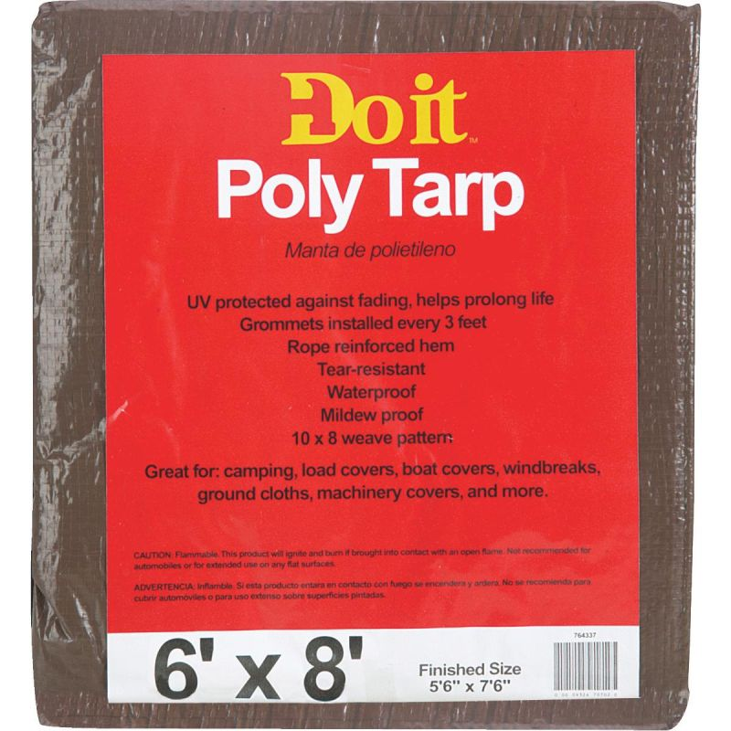 Do it Medium Duty Poly Tarp 6 Ft. X 8 Ft., Green/Brown
