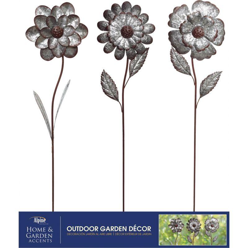 Alpine Flower Garden Stake Lawn Ornament Metallic (Pack of 12)