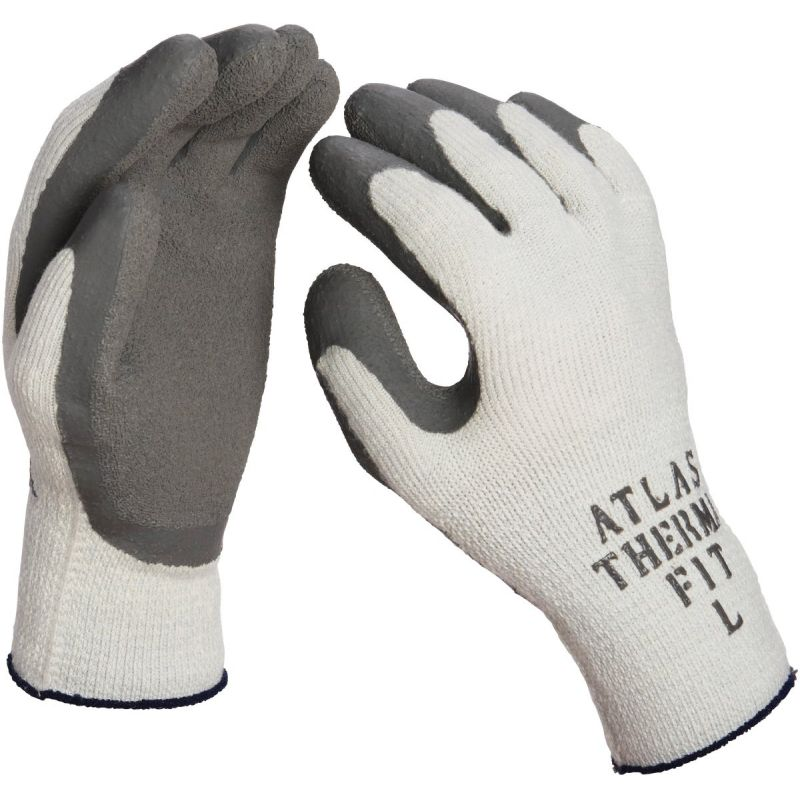 Atlas Therma-Fit Latex-Dipped Knit Winter Glove L, White & Green