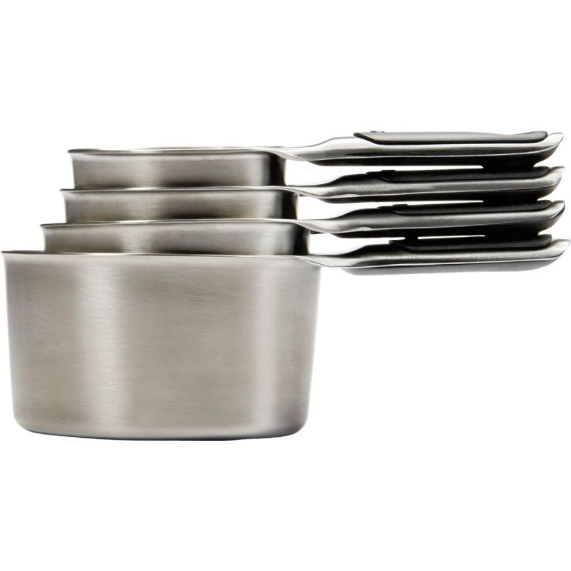 OXO Good Grips Stainless Steel Measuring Cup Set Black Handle, Color-Coded Measurements