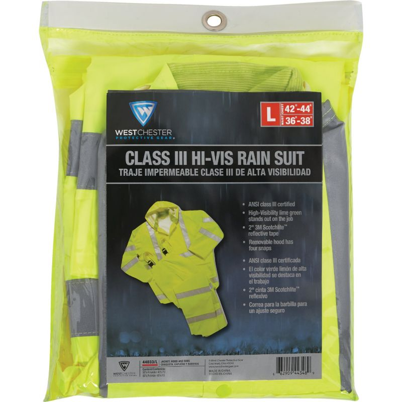 West Chester 3-Piece Hi Visibility Rain Suit L, Hi-Vis Yellow
