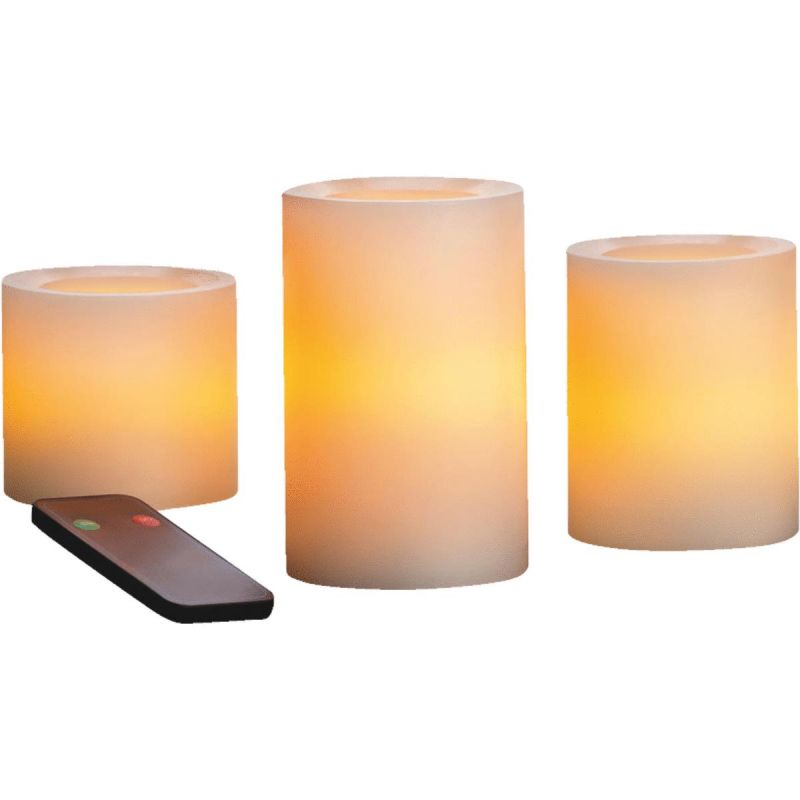 Inglow 3 In. Dia. Cream Wax Pillar LED Flameless Candle Set With Remote Control Cream