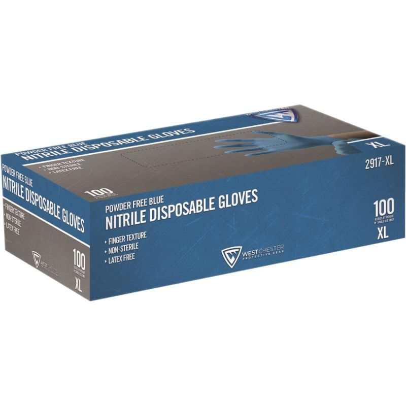 West Chester Protective Gear Nitrile Industrial Grade Disposable Glove XL, Blue