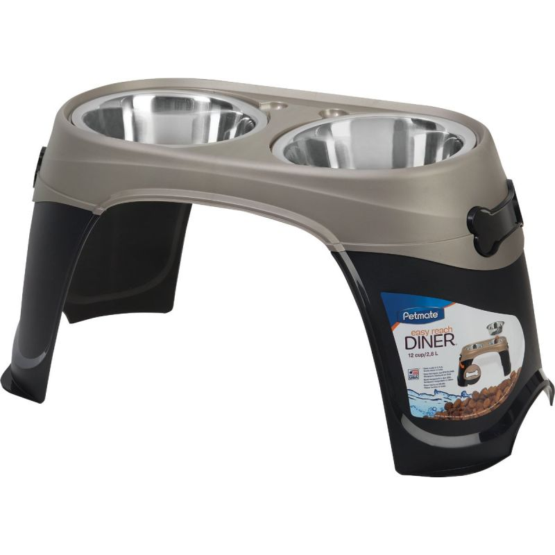 Petmate Easy Reach Diner Elevated Pet Food Bowl Extra Large, Black/Pearl Tan